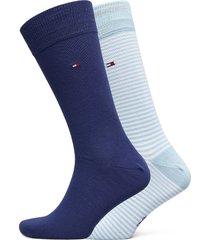 th men small stripe sock 2p underwear socks regular socks blå tommy hilfiger