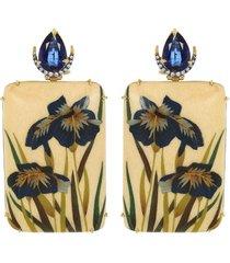 kyanite and marquetry flower earrings