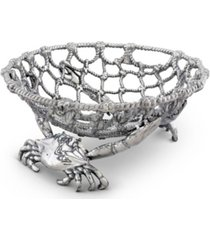 "arthur court fruit centerpiece basket ""crab and net"" ocean, seacoast aluminum hand polished"