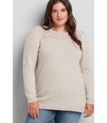 lane bryant women's pointelle-yoke sweater 26/28 cobblestone/off white
