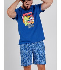 pyjama's / nachthemden admas for men pyjama kort t-shirt mickey neon disney blauw admas