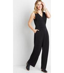 maurices womens black v neck pocket jumpsuit