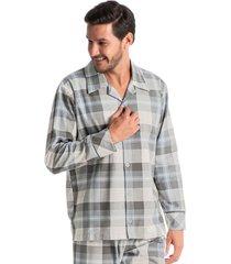 pijama masculino abotoado longo winter