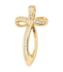 pingente estelle semijoias cruz curva zircônias brancas banhado ouro feminino - feminino