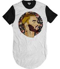 camiseta longline chris brown floral masculina