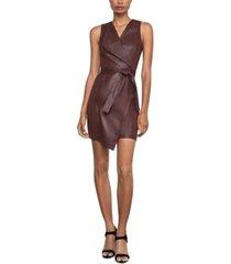 bcbgmaxazria faux-leather asymmetrical sheath dress
