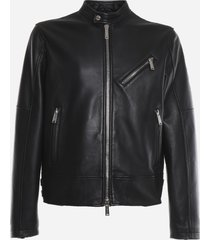 dsquared2 leather jacket with decorative buckle detail
