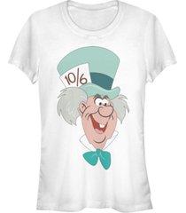 fifth sun women's alice in wonderland mad hatter big face short sleeve t-shirt