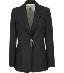brunello cucinelli tropical luxury wool blazer with monili and precious pin