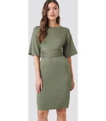 na-kd wrapped detail jersey dress - green