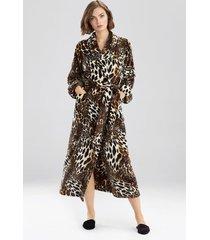 natori plush leopard sleep/lounge/bath wrap/robe, women's, size l natori
