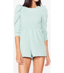 womens shirred it all before puff sleeve romper - sage
