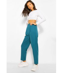 toelopende broek met elastische taille, blauwgroen