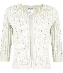 chanel pre-owned vertical scallops open cardigan - green
