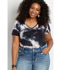 maurices plus size womens 24/7 black tie dye tuck in tee