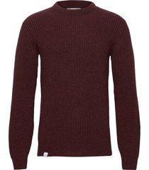 runar knit stickad tröja m. rund krage röd makia