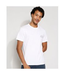 camiseta masculina manga curta hula hula gola careca branca