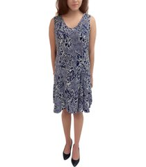 ny collection petite printed sleeveless fit & flare dress