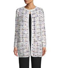 long-sleeve tweed cardigan