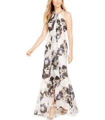calvin klein floral draped halter gown