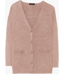 womens getting warmer knitted longline cardigan - taupe