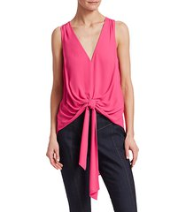aisha tie-front sleeveless blouse
