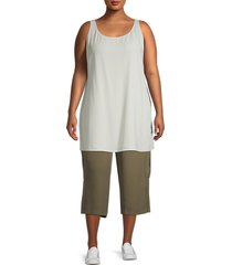 eileen fisher women's plus long silk tank top - bone - size 1x (14-16)