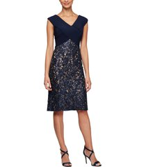 women's alex evenings pleat & sequin lace cocktail dress
