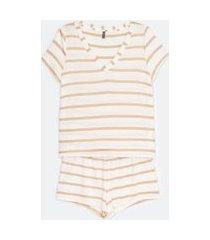 pijama curto em viscolycra gola v estampa listras | lov | branco | m