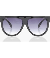flat top oversized sunglasses, black