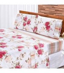 jogo de cama dourados enxovais requinte vermelho/branco solteiro percal 180 fios 03 peã§as - vermelho - dafiti