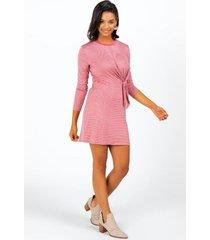 agnes stripe front tie dress - rose