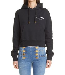 women's balmain flocked logo crop hoodie, size large - black