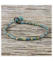 brass beaded bracelet, 'andaman sea currents' (thailand)
