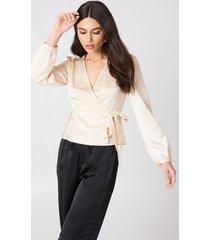 glamorous tie overlap blouse - nude