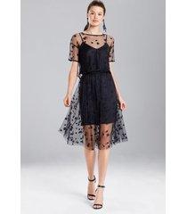 embroidered mesh skirt, women's, black, size l, josie natori