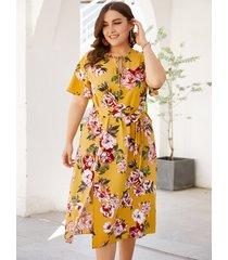 plus tamaño amarillo cinturón diseño impresión floral aleatoria vestido