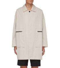 zipper patch pocket mid length coat