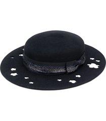 maison michel kiki glitter-trimmed cutout hat - black