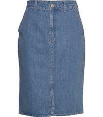 seasonal mom skirt knälång kjol blå lee jeans
