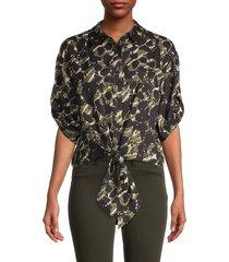 karl lagerfeld paris women's printed tie front blouse - black moss - size xl