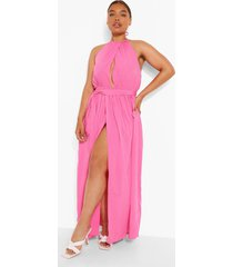 plus maxi jurk met halter neck, light pink