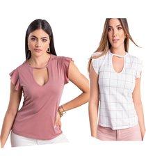 blusa paq x2 para mujer bicolor mp