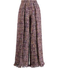 talbot runhof iridescent tweed palazzo pants - purple