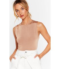 womens crop to get it cut-out top - chocolate