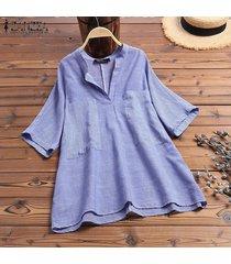 zanzea verano mujeres 3/4 cuello en v bolsillos delanteros raya camisas de las señoras remata la blusa -azul marino