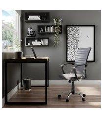 cadeira de escritório diretor giratória teslin cinza