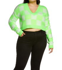plus size women's bp. checker crop sweater, size 3x - green