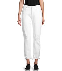 distressed stretch-cotton cropped pants
