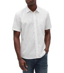 camisa lino blend manga corta blanco gap
